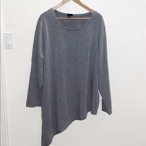 Torrid Gray Asymmetrical Long Sleeve Top
